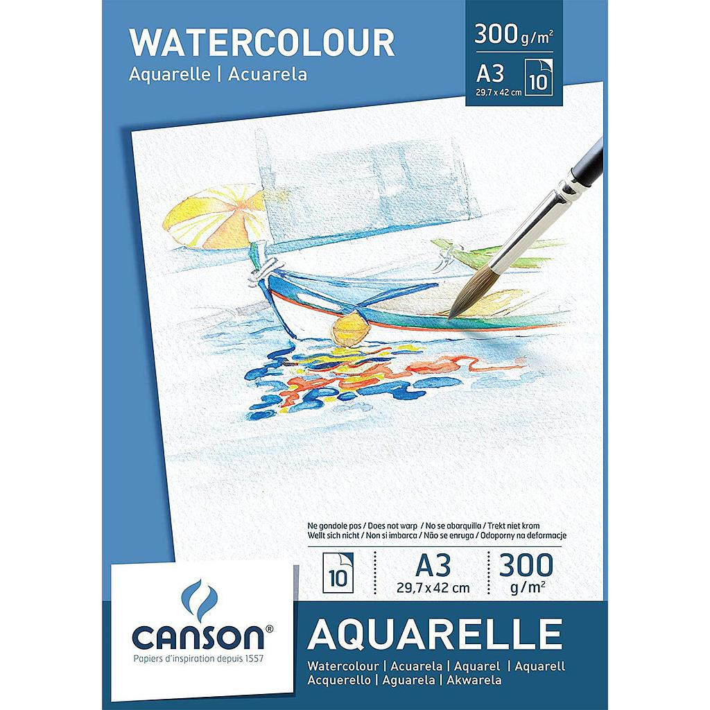 CANSON WATER COLOUR SHEETS A3 SIZE 300GSM 10 SHEETS